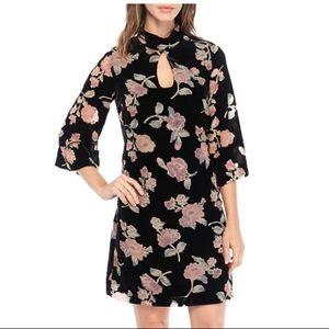 NWT Nanette Lepore Floral Bell Sleeve Velvet Dress